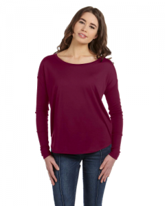 Ladies Flowy Long Sleeve T Shirt with 2x1 Sleeves
