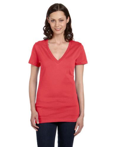 Ladies Jersey Short Sleeve Deep V Neck T Shirt