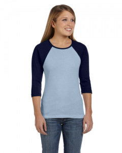 Ladies Stretch Rib 3 4 Sleeve Contrast Raglan T Shirt