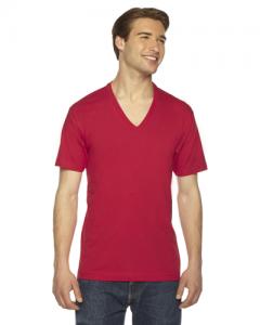 Unisex Fine Jersey Short Sleeve V Neck