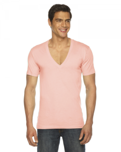 Unisex Sheer Jersey Short Sleeve Deep V Neck