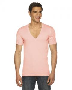 Unisex Sheer Jersey Short Sleeve Deep V Neck
