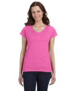 SoftStyle Ladies 4.5 oz. Junior Fit V Neck T Shirt